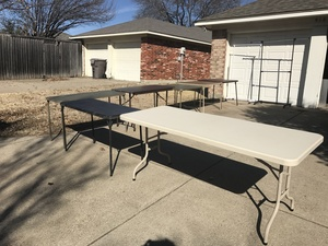 7 Folding Tables and 2 Clothes Racks rental Dallas-Ft. Worth, TX