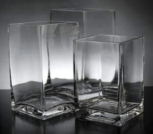 "Glass Graduated Cube Vases 6"", 7"", 8"" rental West Palm Beach-Ft. Pierce, FL"