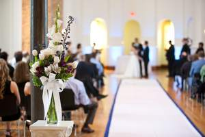Blue and white wedding aisle runner rental Des Moines-Ames, IA