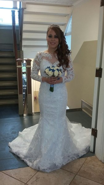 Loanables White Sleeved Wedding Dress With Train Rental Located In