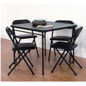 black card table with 4 matching chairs rental Dallas-Ft. Worth, TX